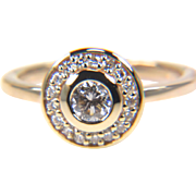Round Diamond Halo Engagement Ring Ring in 14K Yellow Gold