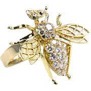 Vintage Gold Bee -Diamond Bee - Gold Bee Ring - Diamond Bug - Diamond Ring