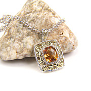 Citrine Pendant - Citrine - Silver Citrine Pendant - Citrine Necklace - Gemstone Diamond Pendant  - November Birthstone