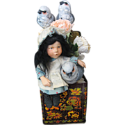 *OOAK* Hal Payne Artist Doll - Resin Girl With Birds In Tin Made In England