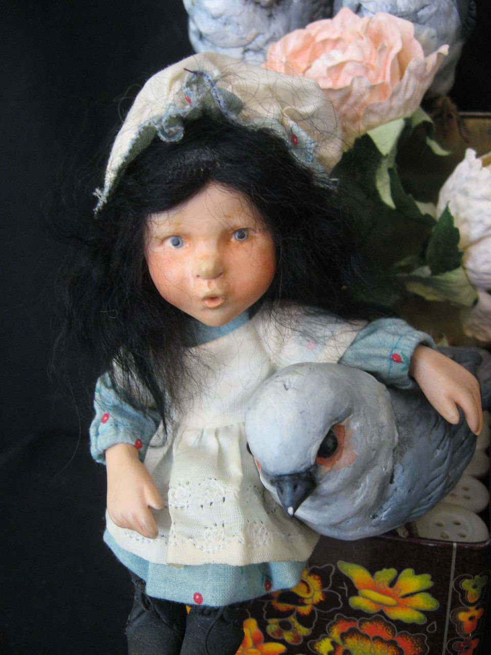 ooak hal payne artist doll   resin girl with birds in tin made in