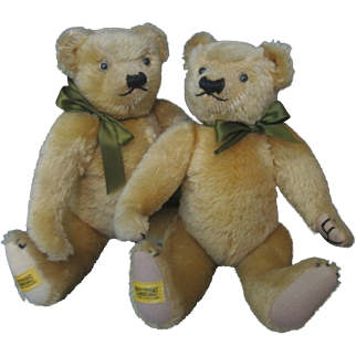 Pair Merrythought England Bears - Mohair - Tagged