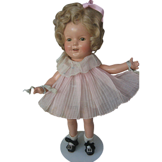 "1930's Ideal 13"" Shirley Temple - Original Tagged Outfit - Composition Doll - Mohair Wig -"