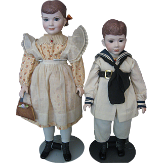 Martha Thompson Betsy & Little Brother Pair of Dolls- NIADA Member- Marked- Porcelain and Cloth Dolls