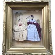 Vintage French La Mode Illustree Print/Litho - 3-D Shadow Box Diorama with Enhanced Clothing