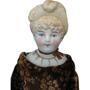 """Vintage Bonnet Head China Doll - Unglazed Bisque - Jointed Leather Body - Marked """"2"""""""