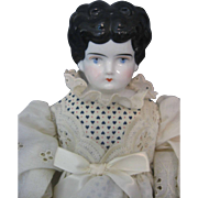 "China Head Doll - Germany - Circa 1890""s - 16 1/2"" - Cloth Body - Lovely Outfit"