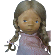 Elizabeth Pongratz Artist Doll Carved All Wooden With Hangtag and Marked - Germany -