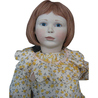 "Lynne & Michael Roche Wooden Doll ""Medium Beth"" Artist Doll 1990 18"" Signed & With Tag"
