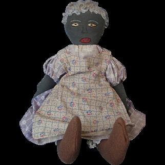 Vintage Early Black Cloth Folk Art Doll