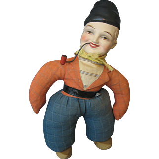 PATENT Dutch Peasant RATTLE Doll -- Courtray, Belgium -- Has Paper Label --