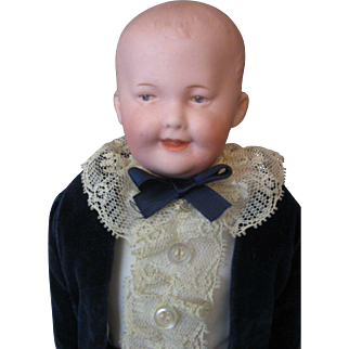 Gebruder Heubach *Smiling Character Boy* Doll - #7644 - Sunburst Mark and Intaglio Eyes