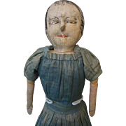 Primitive Cloth Doll - Oil Painted - Late 1800's - Antique -