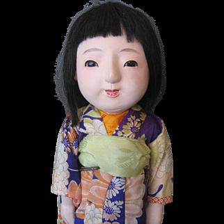 """Ichimatsu Japanese Doll - Gofun - Still Squeaks - 18"""" -"""