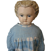 Greiner Style Vintage Doll - With Paper Tag - Papier Mache Shoulderhead with Cloth Body