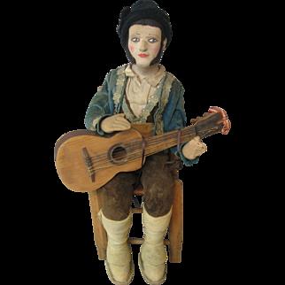 Cloth Doll Vintage International Man With Guitar & Chair - Circa 1926 - UNIQUE