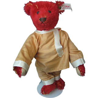"Steiff *Baby Alfonzo* 9"" Red Bear - White Tag In Ear - Germany - EAN 653773 - Circa 1995"