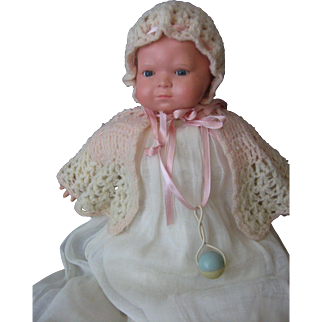 Celluloid Vintage Baby Doll - Glass Eyes - Beautiful Outfit - Celluloid Rattle