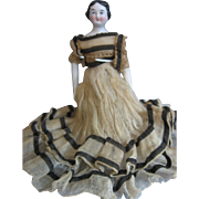 "Antique - circa 1860's Doll House/Miniature Doll - 8"" Original BOdy and Clothes - Shoe Repair - Shoulderhead"