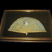 "Vintage Celluloid Fan in Frame - Victorian Scene - Fan measures 11 x 6 insided a frame that measures 15"" x 10"" x 2"" deep -"