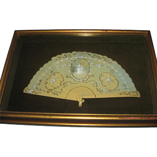 "Vintage Celluloid Fan in Frame - Victorian Scene - Fan measures 11 x 6 insided a frame that measures 15"" x 10"" x 2"" deep -"