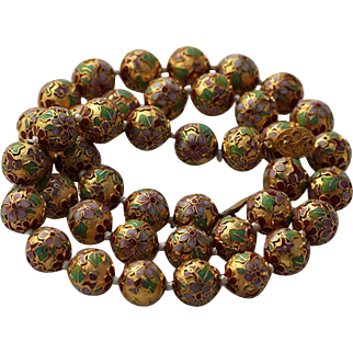 1950s Cloisonne Hand Knotted Gold, Green and Pink and Purple Necklace