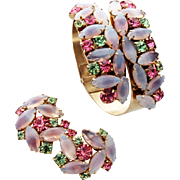 Vintage Pink & White Givre Rhinestone Cuff and Matching Earrings