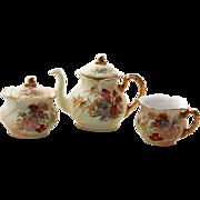 German Porcelain Rudolstadt 3 Piece Tea Set