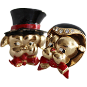 CORO Mr and Mrs Dog Brooches, 1940s Enamel Figural by Adolph Katz