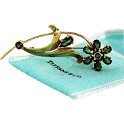 Tiffany Yellow Gold and Tourmaline Flower Brooch, 1940s, Signed Tiffany and WB14K