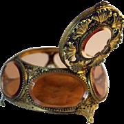 Vintage Ormolu 6 Panel Jewelry Casket with Elaborate Lid