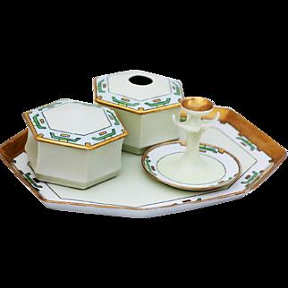 Art Deco Porcelain Dresser Vanity Set Signed Prussia, Rosenthal w/Marker's Mark