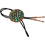 Copper & Natural Bezel Set Turquoise Bola Tie, Bell 1970's