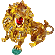 Extraordinary Hattie Carnegie Lion Brooch, Unsigned