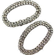 Vintage Sparkling Rhinestone Oval Shoe Clips