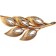Kramer Gold-tone Brushed Metal with Brilliant Clear Rhinestones Brooch