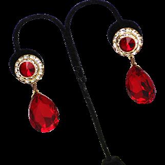 Ruby Red Rhinestone Dangle Earrings