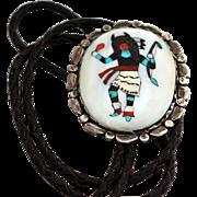 Zuni Buffalo Dancer Mosaic Inlaid Bola Tie, late 1950s