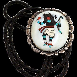 Zuni Buffalo Dancer Mosaic Inlaid Bolo (Bola) Tie, late 1950s