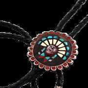 Zuni Sun Warrior Mosaic Channel Bola Tie, late 1950s