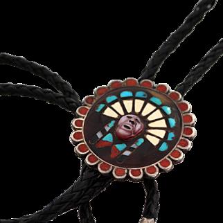 Zuni Sun Warrior Mosaic Channel Bolo Tie, late 1950s