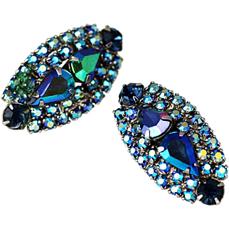 Sparkling AB Blue Clip Earrings - Pristine and Vibrant Color