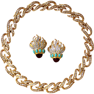 Elizabeth Taylor Eternal Flame Necklace and Earrings, Immaculate Condition