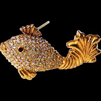 Napier Rhinestone Filled Fish Brooch