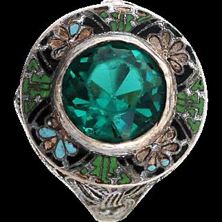 Art Deco Enamel Sterling Glass Emerald Ring