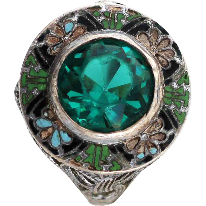 Art Deco Enamel Sterling Glass Emerald Ring From