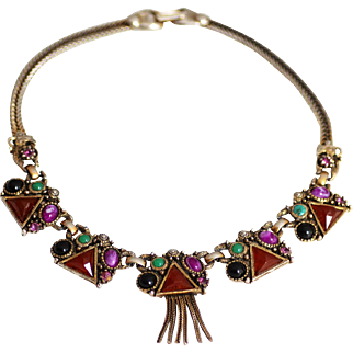 Unsigned Selro Unique and Ornage Necklace with Charming Fringe
