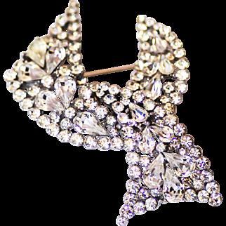 Trifari Rhinestone Bejeweled Ribbon Brooch