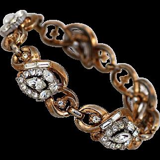 Crown Trifari Bracelet with Bright Rhinestones, warm gold-tone
