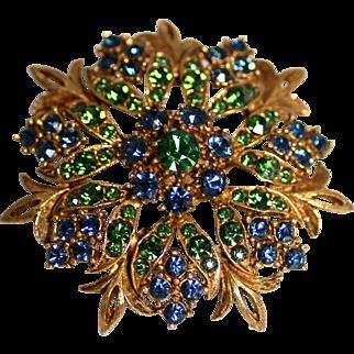 Florenza Gold-tone Brooch Pendant with Emerald Rhinestones, Sparkling